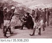 Mir Mahmud Khan II testing a Maxim Gun during the army manoeuvers. Редакционное фото, агентство World History Archive / Фотобанк Лори