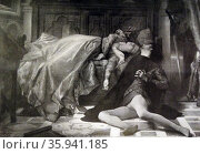 Print of the painting 'Paolo and Francesca' by Alexandre Cabanel. Редакционное фото, агентство World History Archive / Фотобанк Лори