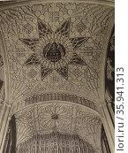 Photographic print of the stone canopy above the effigy of Bishop Wayneflete. Редакционное фото, агентство World History Archive / Фотобанк Лори