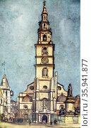 Colour sketch of St Clement Danes, London. Редакционное фото, агентство World History Archive / Фотобанк Лори
