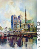 Watercolour painting depicting The Cathedral of Notre-Dame by Louis Burleigh Bruhl (2013 год). Редакционное фото, агентство World History Archive / Фотобанк Лори
