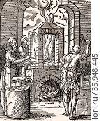 Nail makers workshop (Flemish) 16th century woodcut by Jost Amman (2016 год). Редакционное фото, агентство World History Archive / Фотобанк Лори