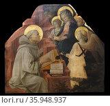 Painting titled 'Saint Bernard's Vision of the Virgin' by Filippo Lippi. Редакционное фото, агентство World History Archive / Фотобанк Лори