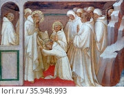 Detail from the painting depicting 'Saint Benedict admitting Saints into the Order' by Lorenzo Monaco. Редакционное фото, агентство World History Archive / Фотобанк Лори