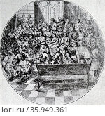 Engraving depicting George Frideric Handel directing an oratorio. Редакционное фото, агентство World History Archive / Фотобанк Лори
