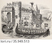 Engraving depicting the French army under Louis II of Flanders arriving in Dendremonde. Редакционное фото, агентство World History Archive / Фотобанк Лори