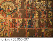 Oil and gold leaf triptych with scenes from the apocalypse. Редакционное фото, агентство World History Archive / Фотобанк Лори