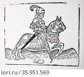 Medieval woodblock print of a Knight preparing to joust (2016 год). Редакционное фото, агентство World History Archive / Фотобанк Лори
