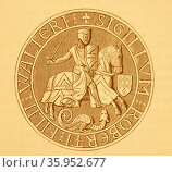 Engraving depicting the seal of Robert Fitzwater (2016 год). Редакционное фото, агентство World History Archive / Фотобанк Лори