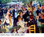 Painting titled 'Bal du Moulin de la Galette' by Pierre-Auguste Renoir. Редакционное фото, агентство World History Archive / Фотобанк Лори