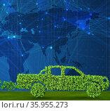 Car powered by biofuel - 3d rendering. Стоковое фото, фотограф Elnur / Фотобанк Лори