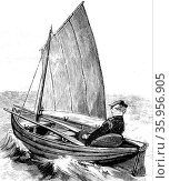 Engraving depicting a folding boat by Edward Lyon Berthon (2016 год). Редакционное фото, агентство World History Archive / Фотобанк Лори
