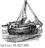Illustration depicting a Hog Boat (2016 год). Редакционное фото, агентство World History Archive / Фотобанк Лори