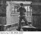 Engraving depicting a lifeboat lookout scanning the sea with a telescope (2016 год). Редакционное фото, агентство World History Archive / Фотобанк Лори