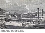 Illustration depicting paddle steamers at Albany. Редакционное фото, агентство World History Archive / Фотобанк Лори