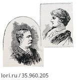 Illustrated portraits of Mr & Mrs Kinsey. Редакционное фото, агентство World History Archive / Фотобанк Лори