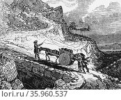 Engraving depicting the negotiation of a Highland road with a laden cart (2016 год). Редакционное фото, агентство World History Archive / Фотобанк Лори