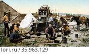 Photomechanical print of the ''round up'' grub pile on the Cimarron, Colorado. Редакционное фото, агентство World History Archive / Фотобанк Лори