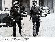 Generals Carlos Masquelet Lacaci and Domingo Batet 1936. Редакционное фото, агентство World History Archive / Фотобанк Лори