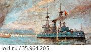 Spanish naval cruiser off Barcelona during the Spanish Civil War. Редакционное фото, агентство World History Archive / Фотобанк Лори