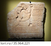 A Mayan frieze shows an offering of incense is being presented to a serpent spirit. Редакционное фото, агентство World History Archive / Фотобанк Лори