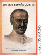 poster depicting General Francisco Franco, the nationalist leader during the Spanish Civil War. Редакционное фото, агентство World History Archive / Фотобанк Лори