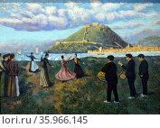 Painting titled 'Basque Celebration (Dance at El Antiguo, San Sebastian) by Darío de Regoyos. Редакционное фото, агентство World History Archive / Фотобанк Лори