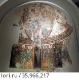 Romanesque fresco on the Apse from La Seu d'Urgell. Редакционное фото, агентство World History Archive / Фотобанк Лори