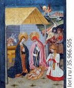 Altarpiece depicting 'the Birth of the Virgin' by the Workshop of Pedro García de Benabarre. Редакционное фото, агентство World History Archive / Фотобанк Лори