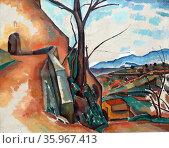 Andre Derain (1880 - 1954), Landscape near Gagnes, 1910 Oil on canvas. Редакционное фото, агентство World History Archive / Фотобанк Лори