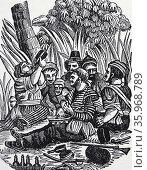 crew of Captain Bartholomew Roberts, known as 'Black Bart,' early 18th century. Редакционное фото, агентство World History Archive / Фотобанк Лори