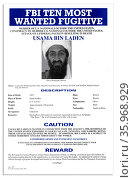 FBI Most Wanted poster of Osama Bin Laden the Al Qaida terrorist group leader 2001. Редакционное фото, агентство World History Archive / Фотобанк Лори
