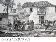 Engraving depicts an courtyard in Bogotá, the capital of Colombia and Cundinamarca Department. Редакционное фото, агентство World History Archive / Фотобанк Лори