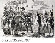 Surrender by France at the Battle of Bailén, General Pierre Dupont de l'Étang handing his sword. Редакционное фото, агентство World History Archive / Фотобанк Лори