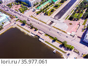 Aerial view panorama of Yekaterinburg city center. View from above. Russia. Стоковое фото, фотограф Евгений Ткачёв / Фотобанк Лори