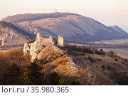 Sirotci hradek ruins and Devicky ruins on Palava region, South Moravia... Стоковое фото, фотограф Richard Semik / easy Fotostock / Фотобанк Лори