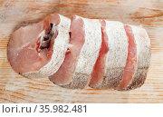 Raw sliced whiting fish. Стоковое фото, фотограф Яков Филимонов / Фотобанк Лори
