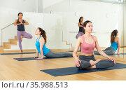 Young women exercising Hatha yoga poses in studio. Стоковое фото, фотограф Яков Филимонов / Фотобанк Лори