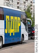Moscow, Russia - May 31. 2021. LDPR - Liberal Democratic Party of Russia - inscription on the bus. Редакционное фото, фотограф Володина Ольга / Фотобанк Лори