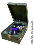 Old antique Vintage gramophone with a vinyl record. Стоковое фото, фотограф Евгений Ткачёв / Фотобанк Лори