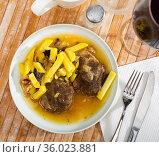 Baked pork pieces with potatoes in goulash. Стоковое фото, фотограф Яков Филимонов / Фотобанк Лори
