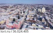 Yelets city. Transfiguration church. View from above. Russia. Стоковое видео, видеограф Яков Филимонов / Фотобанк Лори