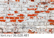 Old brick wall stained with white paint as background. Стоковое фото, фотограф Zoonar.com/Alexander Blinov / easy Fotostock / Фотобанк Лори