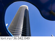 The Torre PwC is a 52-floor, 236-metre-tall skyscraper. It houses... Стоковое фото, фотограф Marcelino Ramírez / age Fotostock / Фотобанк Лори