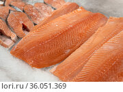 Many fillet and Steaks of salmon lie on ice. Стоковое фото, фотограф Володина Ольга / Фотобанк Лори