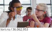Diverse female teacher and schoolgirl wearing protective glasses with test-tube on chemistry class. Стоковое видео, агентство Wavebreak Media / Фотобанк Лори