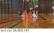 Mid section of diverse female basketball team practice dribbling ball. Стоковое видео, агентство Wavebreak Media / Фотобанк Лори
