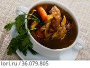 Tasty scottish traditional soup cock-a-leekie with chicken, bacon and leek. Стоковое фото, фотограф Яков Филимонов / Фотобанк Лори