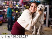 Smiling woman hugging dog in pet shop. Стоковое фото, фотограф Яков Филимонов / Фотобанк Лори