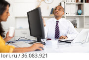 Director and secretary work in office. Стоковое фото, фотограф Яков Филимонов / Фотобанк Лори